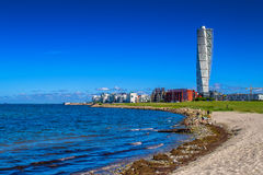 Swedish Malmo West Harbor Area Cityscape with Turning Torso. MALMO, SWEDEN - JUNE 26, 2015: Malmo West Harbor Oresund Area Cityscape with Turning Torso as Stock Image