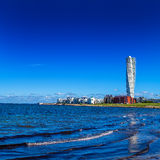 Swedish Malmo West Harbor Area Cityscape with Turning Torso. MALMO, SWEDEN - JUNE 26, 2015: Malmo West Harbor Oresund Area Cityscape with Turning Torso as Stock Images