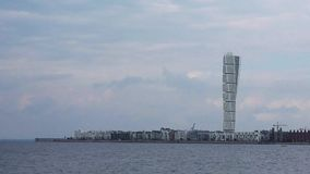 Swedish Malmo West Harbor Area Cityscape with Turning Torso stock video footage