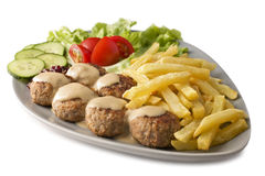 Swedish Meatballs and Chips Stock Image