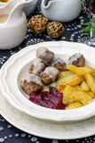 Swedish meatballs coated in creamy gravy Stock Photography