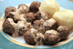 Swedish meatballs on dish. Stock Photo