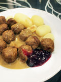 Swedish Meatballs (Kottbullar). With potatoes, gravy and lingonberries sauce Royalty Free Stock Image