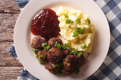 Swedish meatballs kottbullar with a side dish mashed potato clos Royalty Free Stock Photos