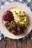 Swedish meatballs kottbullar with a side dish mashed potato clos Stock Photo