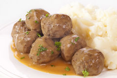 Swedish Meatballs with Mashed Potato Stock Photos