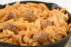 Swedish meatballs with noodles Stock Images