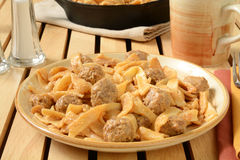 Swedish meatballs with noodles Stock Photography