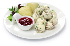 Swedish meatballs plate Royalty Free Stock Photos