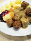 Swedish meatballs with potatoes Stock Photo