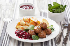 Swedish meatballs with potatoes and lingon jam Royalty Free Stock Photos