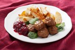 Swedish meatballs with potatoes and lingon jam Stock Photography