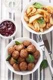 Swedish meatballs with potatoes and lingon jam Royalty Free Stock Photography