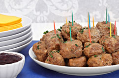 Swedish Meatballs with a side of berry sauce. Stock Photography