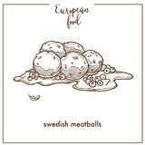 Swedish meatballs sketch icon for European food cuisine menu design. Vector retro sketch of traditional Sweden ball of ground meat dish for cafe or restaurant Royalty Free Stock Photo
