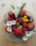 Swedish Midsummer dessert - Strawberries. Bowl with Strawberries for Midsummer evening with decoration of flowers Stock Photos