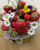 Swedish Midsummer dessert - Strawberries. Sweet Strawberries for Midsummer evening is a tradition in Sweden Royalty Free Stock Photography