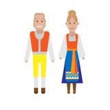 Swedish national costume. Illustration of national dress on white background Royalty Free Stock Photo