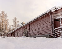 Swedish Old Farm House in Winter Stock Photos