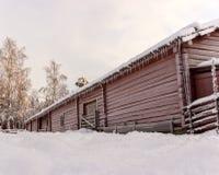 Swedish Old Farm House in Winter Stock Photos