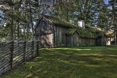 An Swedish old wooden house from the 1690s in HDR royalty free stock photography