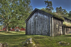An Swedish old wooden house  from the 1690s  in HDR Royalty Free Stock Image