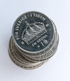 Swedish One Coins Stacked Stock Photography