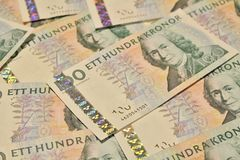 Swedish one hundred kronor banknotes Stock Images