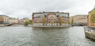 Swedish Parlament building located on Helgeansholmen in the center of Stockholm Royalty Free Stock Photography