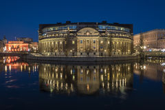 Swedish parliament building night time Stock Photography