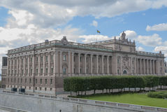 Swedish parliament building in Stockholm Royalty Free Stock Photography