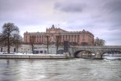 Swedish Parliament - Riksdag in HDR Royalty Free Stock Photography