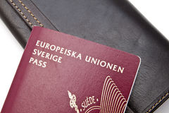 Swedish Passport and Wallet Stock Photography
