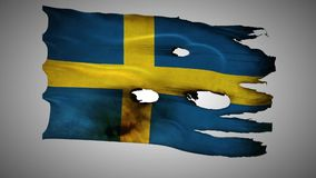 Swedish perforated, burned, grunge waving flag loop alpha stock video footage