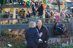 Swedish PM at Tivoli Denmark with his wife. Swedish Prime Minister Stefan Löfven spending his day off before 1st May with his wife Ulla at Tivoli in Denmark Stock Image