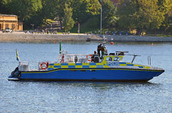 Swedish police boat. A policeboat patrolling in Stockholm during the Barack Obama visit in 2013 Stock Image