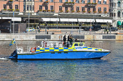 Swedish police boat 2. A swedish policeboat patrolling the water in front of Grand Hotel, Stockholm where Barack Obama is staying during his visit 2013 Royalty Free Stock Photography