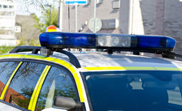 Swedish police car details stock photography