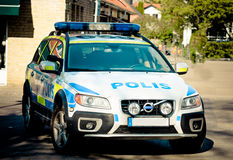 Swedish police car Stock Image