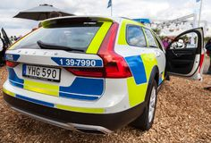 Swedish police car from volvo. ROSTOCK  / GERMANY - AUGUST 12, 2017: swedish police car from volvo stands on a public event, hanse sail in rostock Stock Photography