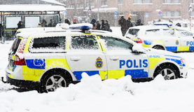 Swedish Police cars parked a winter day Royalty Free Stock Photography
