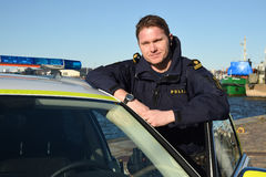 Swedish police officer. Gothenburg. Royalty Free Stock Photo