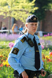 Swedish police woman prepared to protecting the royal family Stock Image