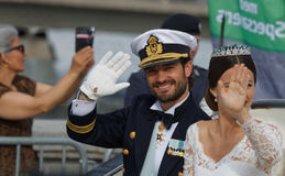 The swedish Prince Carl-Philip Bernadotte and his wife waving Stock Photos