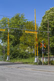 A Swedish railroad crossing. A railroad crossing in central Varberg, a city located on the Swedish west coast Royalty Free Stock Photos