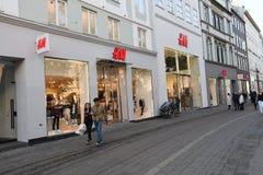 SWEDISH REATIL STPRE H&M IN COPENHAGEN DENMARK. Copenhagen/Denmark 11..October 2018.. Swedish etail store H&M Hennese & mauritz in danish capitak Copenhagen royalty free stock photos