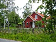Swedish red cabin Stock Images