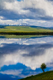 Swedish reflections. Sky reflected in the lake of North Sweden Royalty Free Stock Image