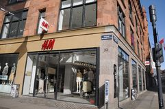 SWEDISH RETAIL h&m STORE. Copenhagen/Denmark 22 April 2018_ .Swedish rtail H&M store on pedesytrain stroget in danish capital. Photo.Francis Joseph Dean / royalty free stock photo