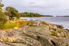 Swedish and rocky coast on the Baltic sea Royalty Free Stock Photo
